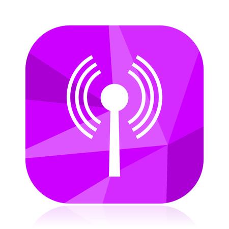 Wifi flat vector icon. Hot spot violet web button. Wireless internet square sign. Antenna modern design symbol