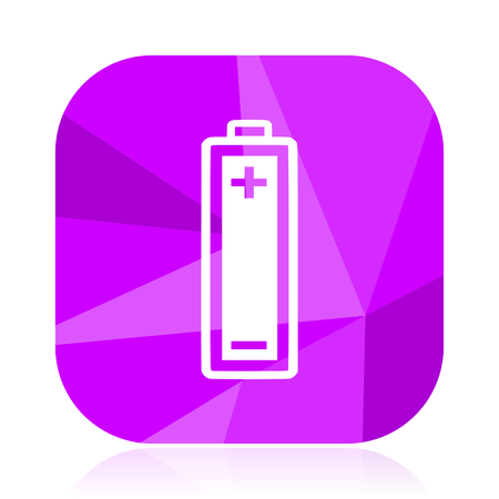 Battery flat vector icon. violet web button. internet square sign. modern design symbol