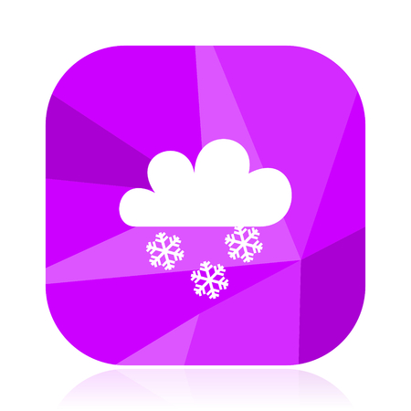 Snowing flat vector icon. Weather forecast violet web button. Meteorology internet square sign.