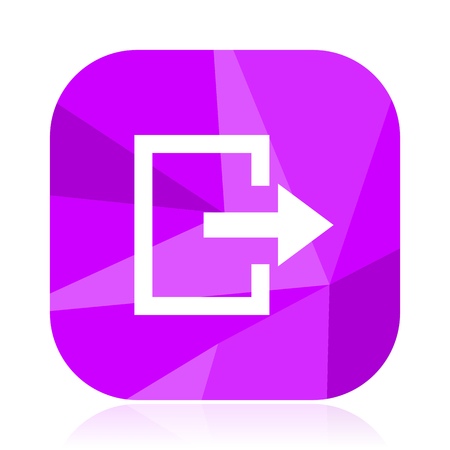 Exit flat vector icon. Move violet web button. Arrow internet square sign. Direction modern design symbol Illustration