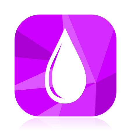 Water drop flat vector icon. Oil violet web button. Aqua internet square sign. Blood modern design symbol
