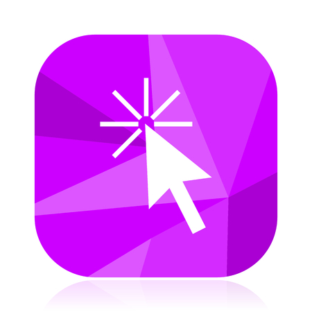 Click here flat vector icon. Arrow violet web button. Pointer internet square sign. Check modern design symbol