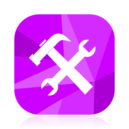 Tool flat vector icon. Spanner violet web button. Hammer internet square sign. Service modern design symbol