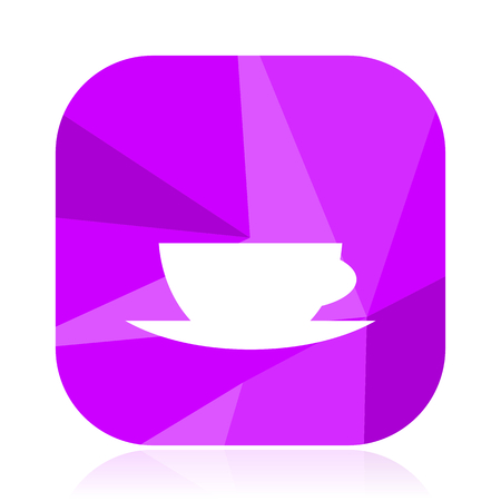 Espresso flat vector icon. Cafe violet web button. Coffee internet square sign. Cup modern design symbol