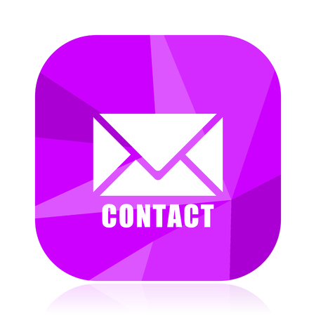Email flat vector icon. Contact violet web button. Letter internet square sign. Post message modern design symbol