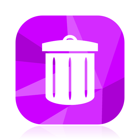 Recycle bin flat vector icon. Trash can violet web button. Waste internet square sign. Garbage modern design symbol