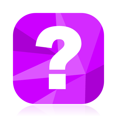 Question mark flat vector icon. Ask violet web button. Answer internet square sign. Unknown modern design symbol