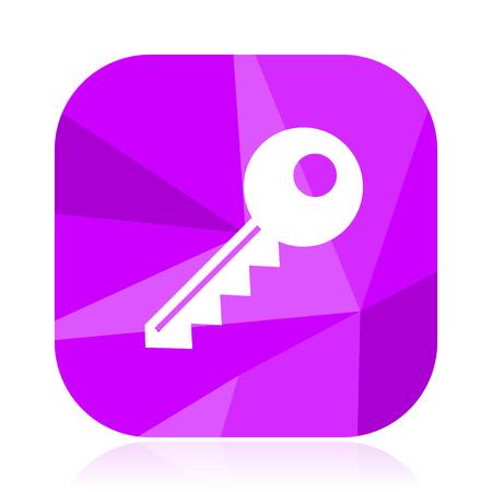 Key flat vector icon. Enter violet web button. Secure internet square sign. Safe modern design symbol