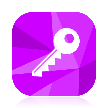 Key flat vector icon. Enter violet web button. Secure internet square sign. Safe modern design symbol
