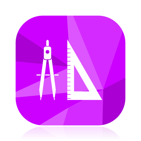 Design flat vector icon. School violet web button. Geometry internet square sign. Learn modern design symbol