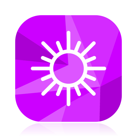Sun flat vector icon. Hot violet web button. Summer internet square sign. Sunny modern design symbol Illustration