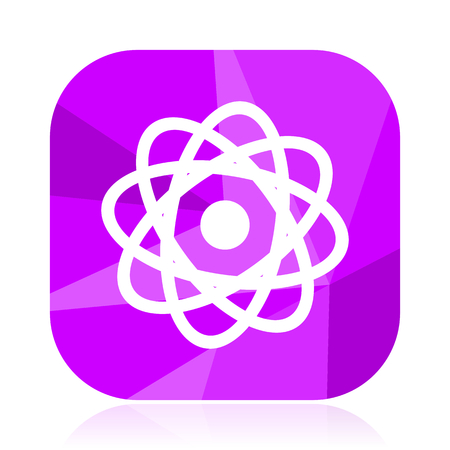 Atom flat vector icon. Molecule violet web button. Physics internet square sign. Chemistry modern design symbol