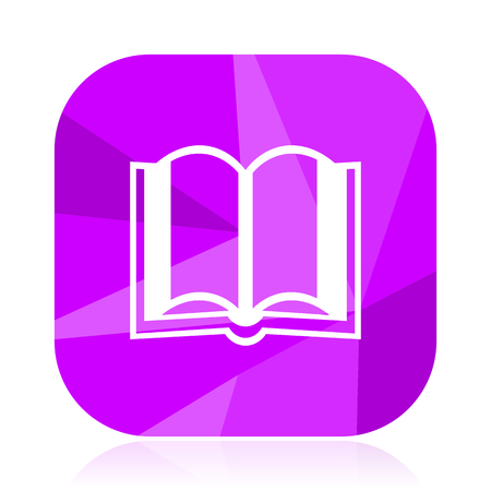 Book flat vector icon. Read violet web button. School internet square sign. Study modern design symbol