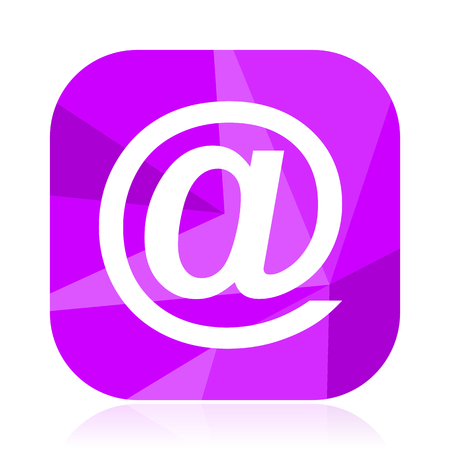 Email flat vector icon. At violet web button. Address internet square sign. E-mail modern design symbol