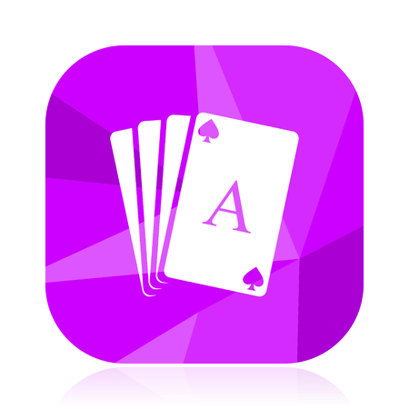 Card flat vector icon. Playing cards violet web button. Poker internet square sign. Casino modern design symbol in eps 10.