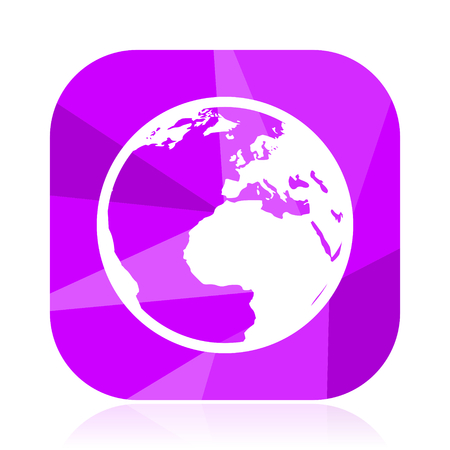 Earth flat vector icon. World violet web button. Globe internet square sign. Map modern design symbol in eps 10. Illustration