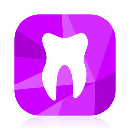 Tooth flat vector icon. Dentist violet web button. Hygiene internet square sign. Care modern design symbol in eps 10.