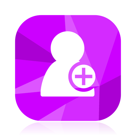 Add contact flat vector icon.  violet web button.  internet square sign.  modern design symbol in eps 10.
