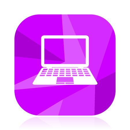 Computer flat vector icon. PC violet web button. Laptop internet square sign. Notebook modern design symbol in eps 10.