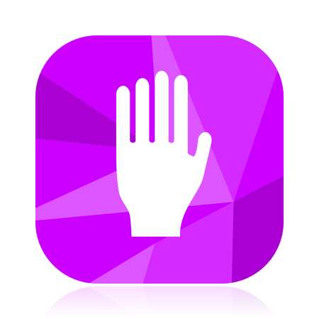 Stop flat vector icon. Hand violet web button. Palm internet square sign. Fingers modern design symbol in eps 10. Ilustrace