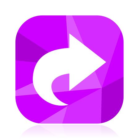 Next flat vector icon. Arrow violet web button. Direction internet square sign. Move modern design symbol Illustration