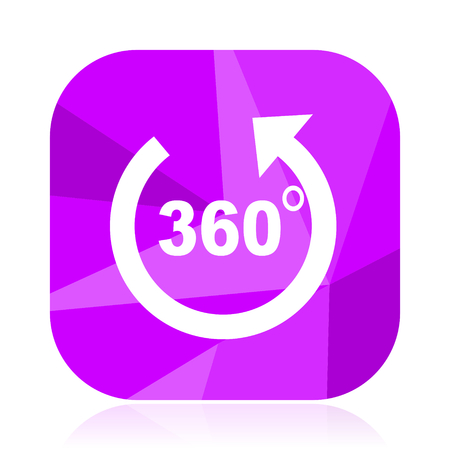 Panorama flat vector icon. 360 degree violet web button. Wide angle internet square sign. Arrow modern design symbol
