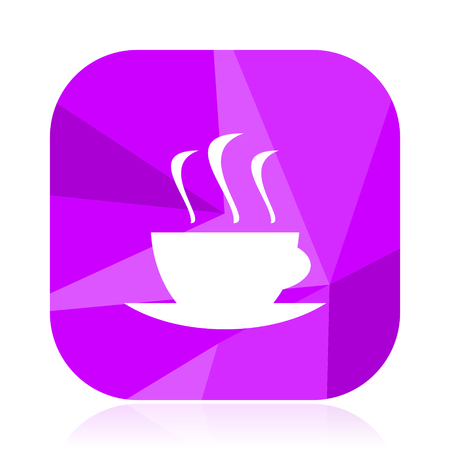 Hot coffee flat vector icon. Cafe violet web button. Drink internet square sign. Cup modern design symbol Illustration