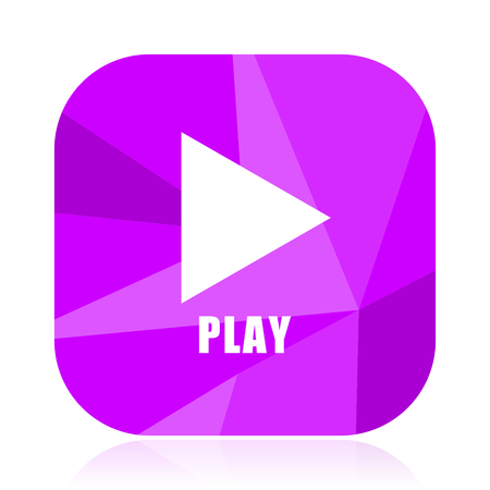 Play flat vector icon. Video violet web button. Media internet square sign. Multimedia modern design symbol Illustration