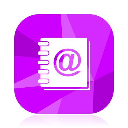 Address book flat vector icon. E-mail violet web button. Mail internet square sign. Post modern design symbol