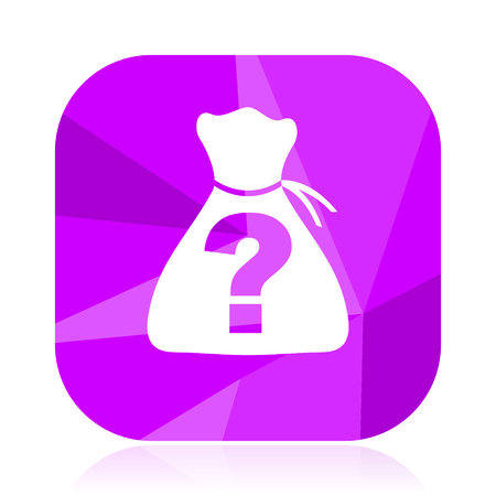 Riddle flat vector icon. Unknown violet web button. Question internet square sign. Quest modern design symbol Illustration