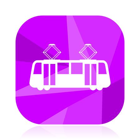 Tram flat vector icon. Tramway violet web button. Train internet square sign. Subway modern design symbol