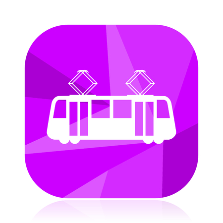 Tram flat vector icon. Tramway violet web button. Train internet square sign. Subway modern design symbol Stock Vector - 103025678