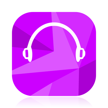 Headphones flat vector icon. Listen violet web button. Music internet square sign. Sound modern design symbol