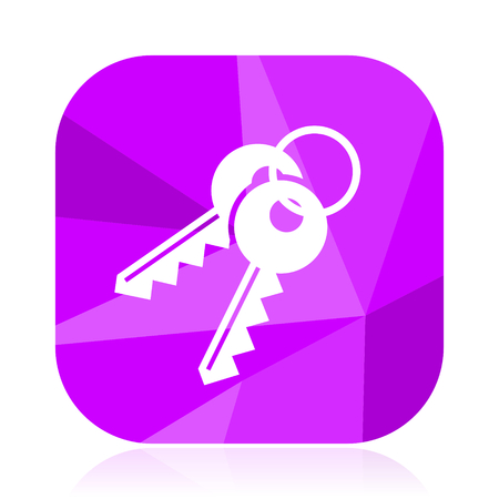 Keys flat vector icon. Secure violet web button. Safe internet square sign. Close modern design symbol Illustration