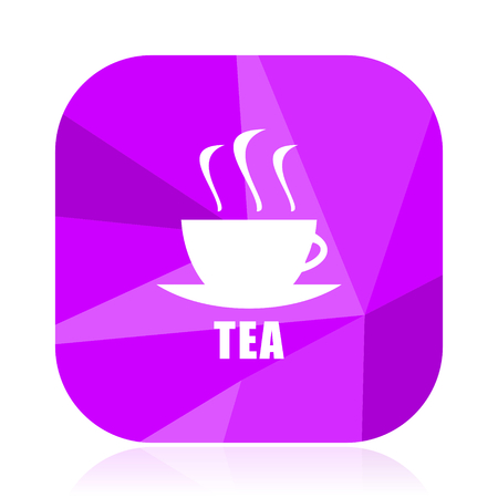 Tea flat vector icon. Cup violet web button. Bar internet square sign. Drink modern design symbol