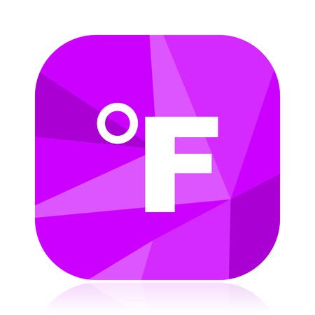 Fahrenheit flat vector icon. Temperature violet web button. Thermometer internet square sign. Weather modern design symbol Vectores