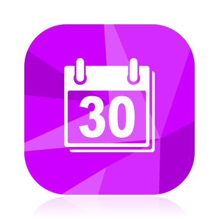Calendar flat vector icon. Date violet web button. Day internet square sign. Month modern design symbol Illustration
