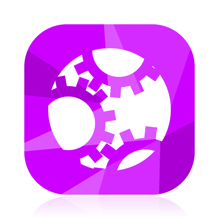 Gear flat vector icon. Engine violet web button. Technology internet square sign. Machinery modern design symbol