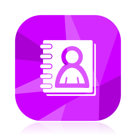 Address book flat vector icon. Friends violet web button. Email internet square sign. Contact modern design symbol Illustration