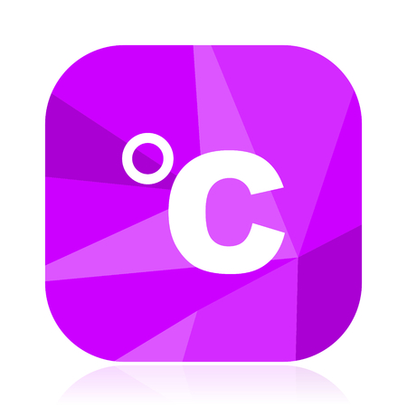 Celsius flat vector icon. Temperature violet web button. Thermometer internet square sign. Weather modern design symbol