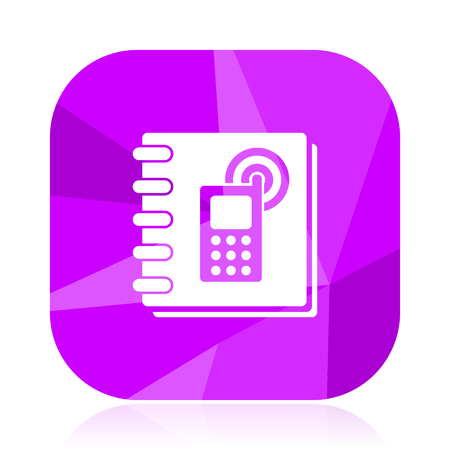 Phonebook flat vector icon. Phone violet web button. Book internet square sign. Call modern design symbol