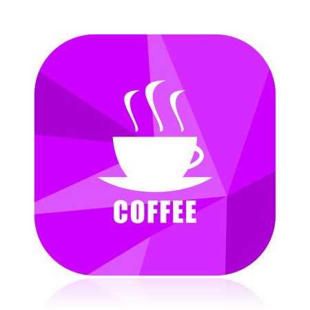 Coffee flat vector icon. Cafe violet web button. Drink internet square sign. Cup modern design symbol