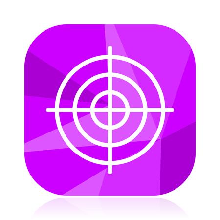 Target flat vector icon. Goal violet web button. Dart internet square sign. Sport modern design symbol