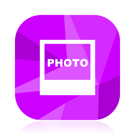 Photo violet square vector web icon. Internet design and webdesign button. Mobile application sign on white background.