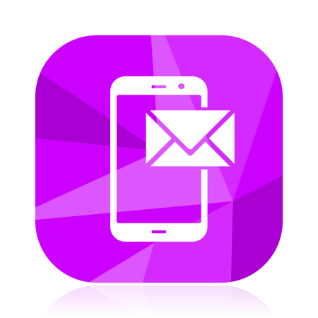 Mail violet square vector web icon. Internet design and webdesign button. Mobile application sign on white background.