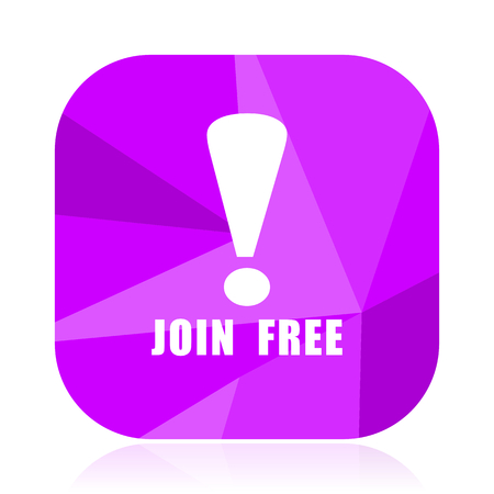 Join free violet square vector web icon. Internet design and webdesign button. Mobile application sign on white background.