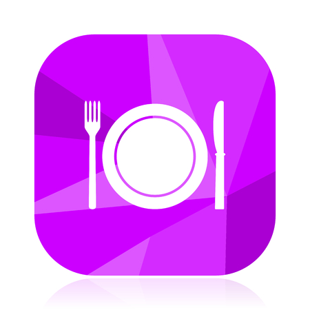 Restaurant violet square vector web icon. Internet design and webdesign button. Mobile application sign on white background..