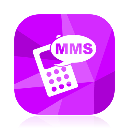 Mms violet square vector web icon. Internet design and webdesign button. Mobile application sign on white background.