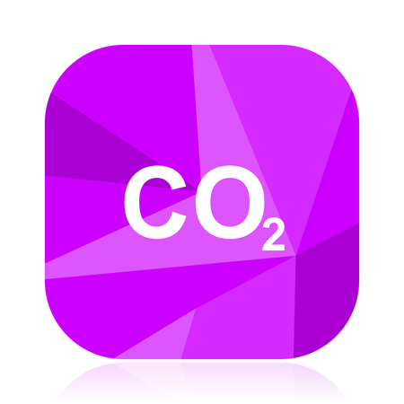 Carbon dioxide violet square vector web icon. Internet design and webdesign button. Mobile application sign on white background.