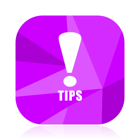 Tips violet square vector web icon. Internet design and webdesign button. Mobile application sign on white background.